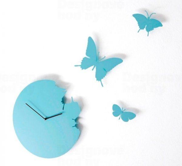 Diamantini&Domeniconi Designové hodiny Diamantini a Domeniconi Butterfly sky blue 40cm 160805