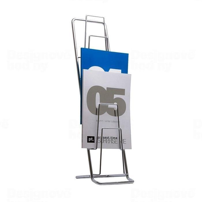Present Time Designový chromovaný stojan na katalogy 65cm 160827