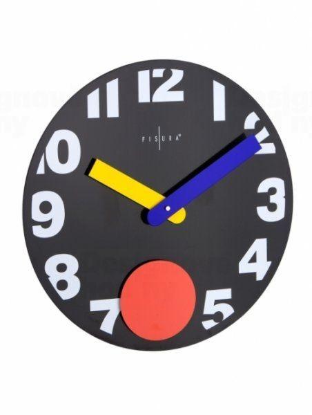Fisura nástěnné hodiny Punto Black 40cm 160821