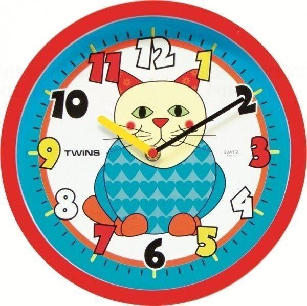 Nástěnné dětské hodiny Twins 10410 kočka 26cm 160898