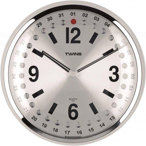 Nástěnné hodiny Twins 14 silver 32cm 160901