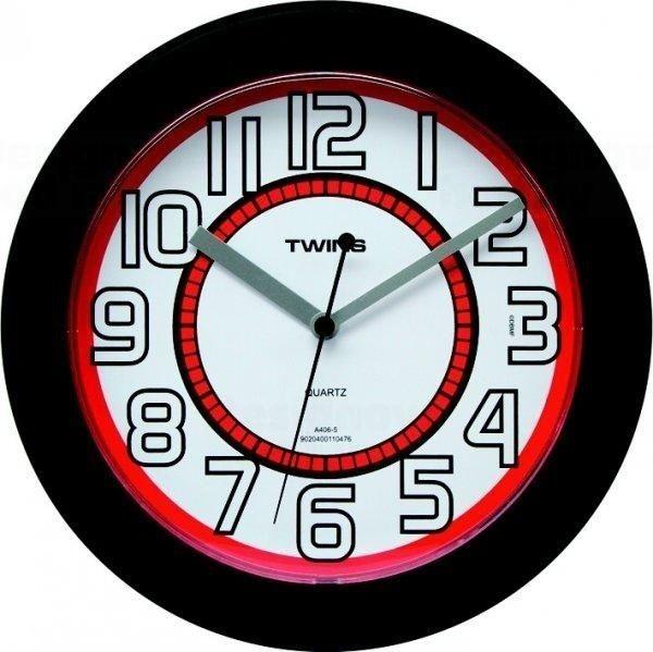 Nástěnné hodiny Twins 406 black 23cm 160889 Hodiny