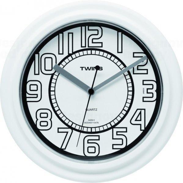 Nástěnné hodiny Twins 406 white 23cm 160888 Hodiny