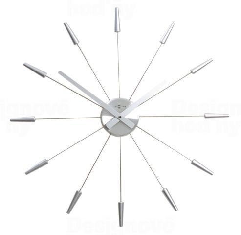NeXtime Designové nástěnné hodiny 2610zi Nextime Plug Inn stříbrné 60cm 161029