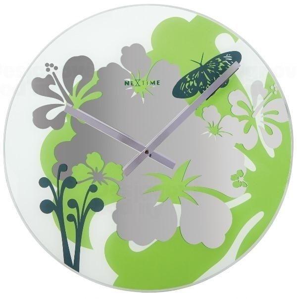 NeXtime Designové nástěnné hodiny 8087gn Nextime Hibiscus green 43cm 160984