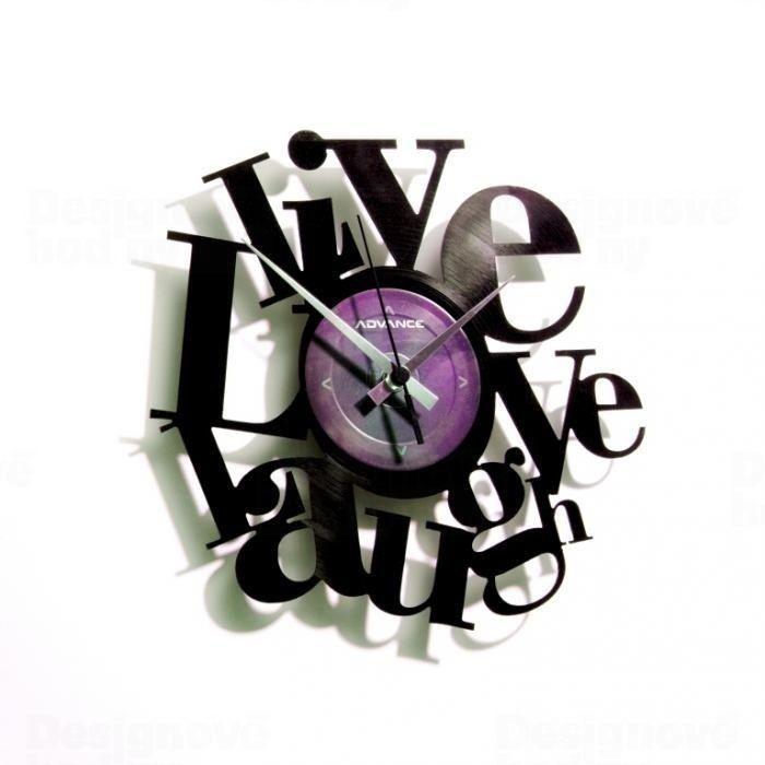 Designové nástěnné hodiny Discoclock 007 Live Love Laugh 30cm 161372