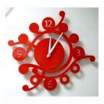 Designové nástěnné hodiny Camea V 43cm Laskowscy barvy kov červená RAL 3020 161516