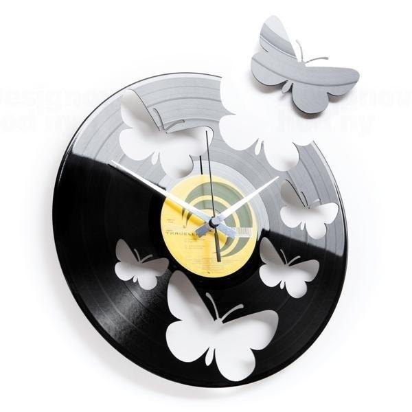 Designové nástěnné hodiny Discoclock 056 Motýli 30cm 163476