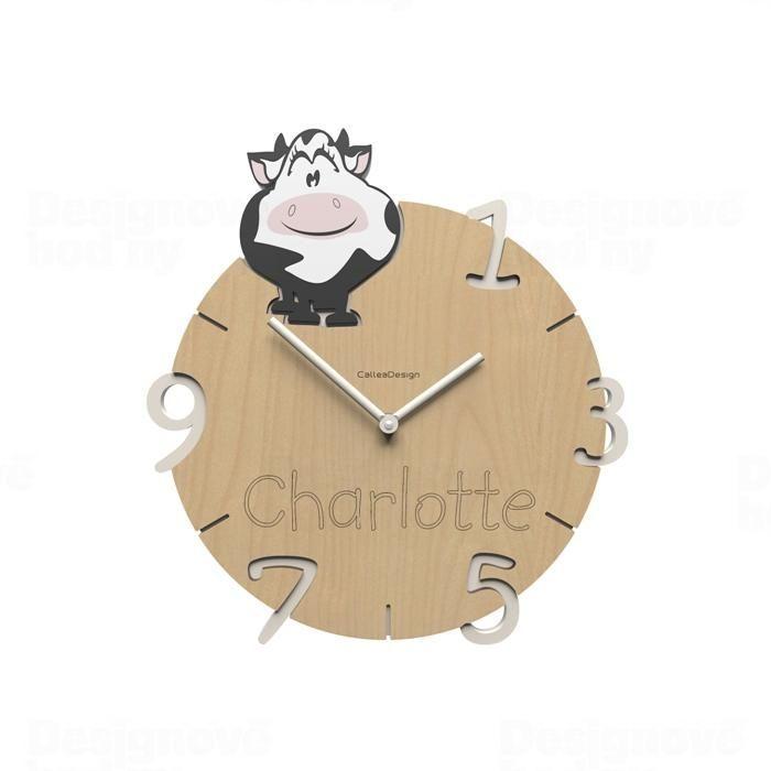Dětské nástěnné hodiny s vlastním jménem CalleaDesign kráva 36cm 163516