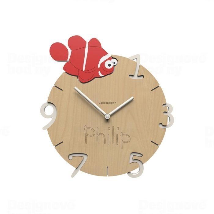 Dětské nástěnné hodiny s vlastním jménem CalleaDesign ryba 36cm 163517