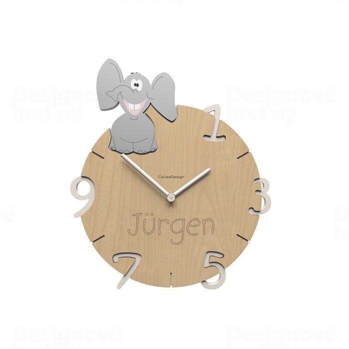 Dětské nástěnné hodiny s vlastním jménem CalleaDesign slon 36cm 163519