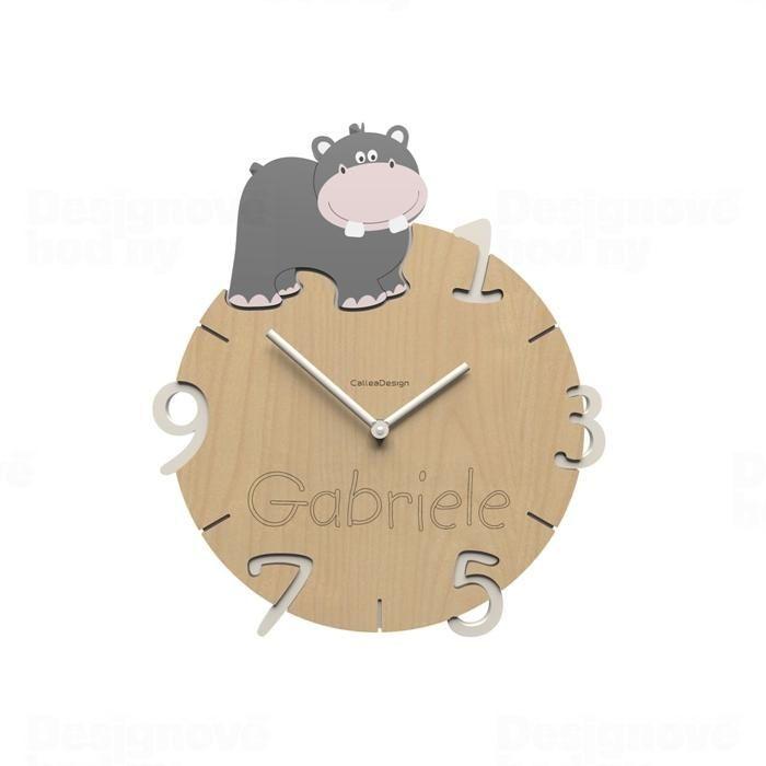 Dětské nástěnné hodiny s vlastním jménem CalleaDesign hroch 36cm 163512