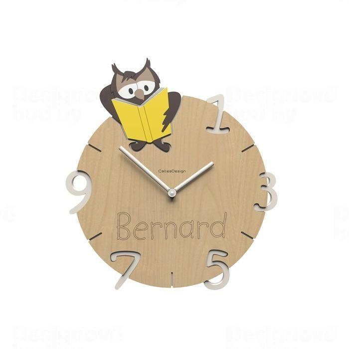 Dětské nástěnné hodiny s vlastním jménem CalleaDesign sova 36cm 163523