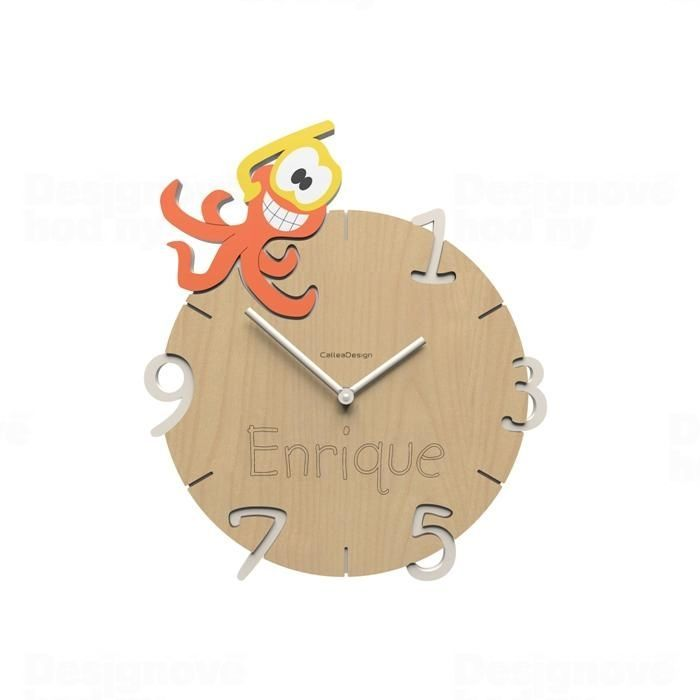 Dětské nástěnné hodiny s vlastním jménem CalleaDesign chobotnice 36cm 163524