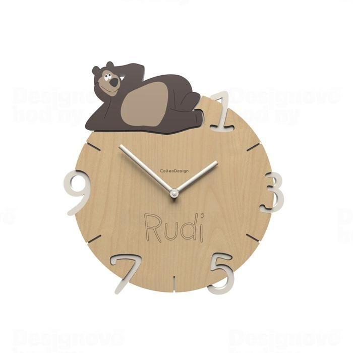 Dětské nástěnné hodiny s vlastním jménem CalleaDesign medvěd 36cm 163525