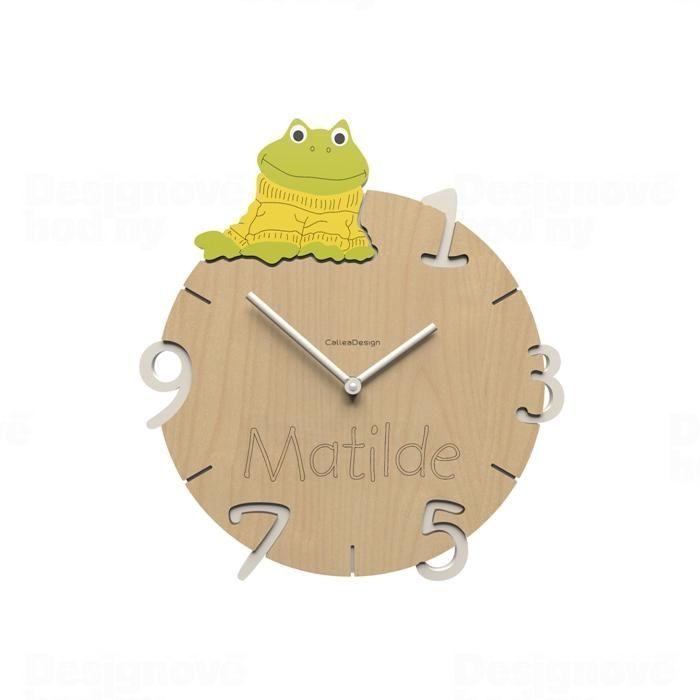 Dětské nástěnné hodiny s vlastním jménem CalleaDesign žába 36cm 163513