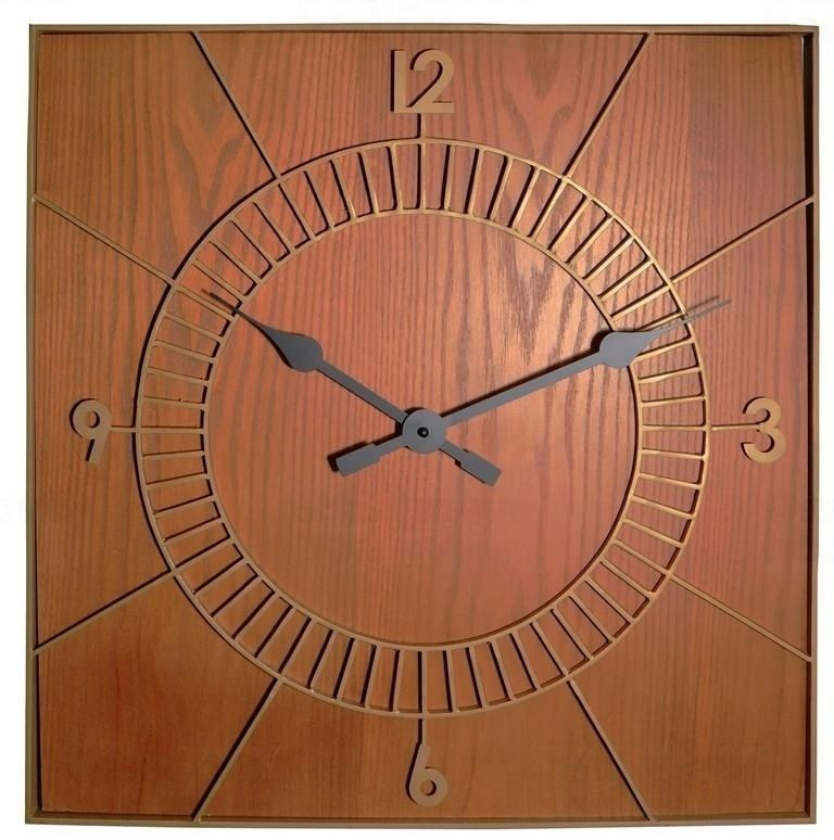 NeXtime Designové nástěnné hodiny 3112br Nextime Wood Square 50cm 163802