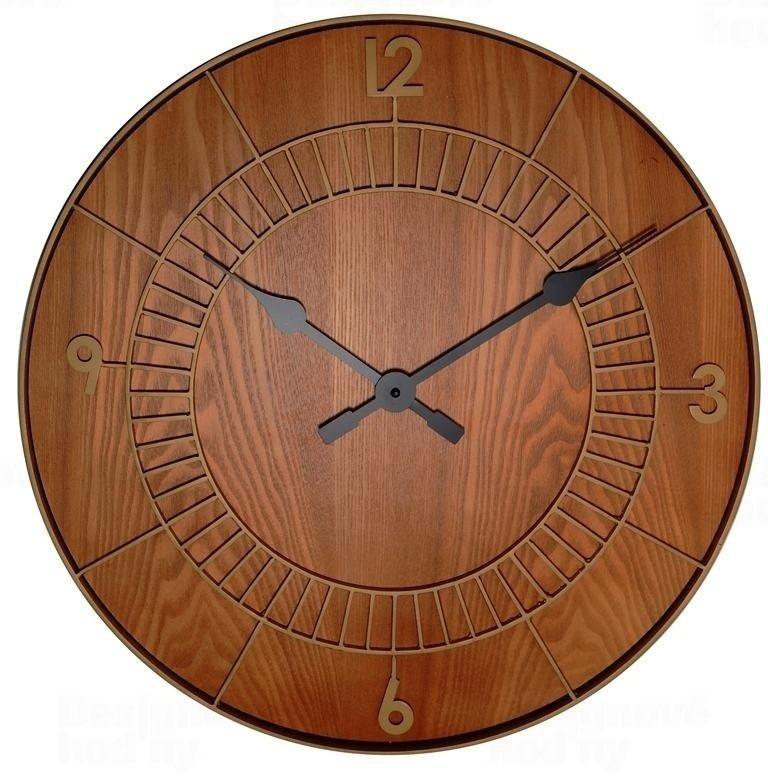 NeXtime Designové nástěnné hodiny 3113br Nextime Wood Round 50cm 163804