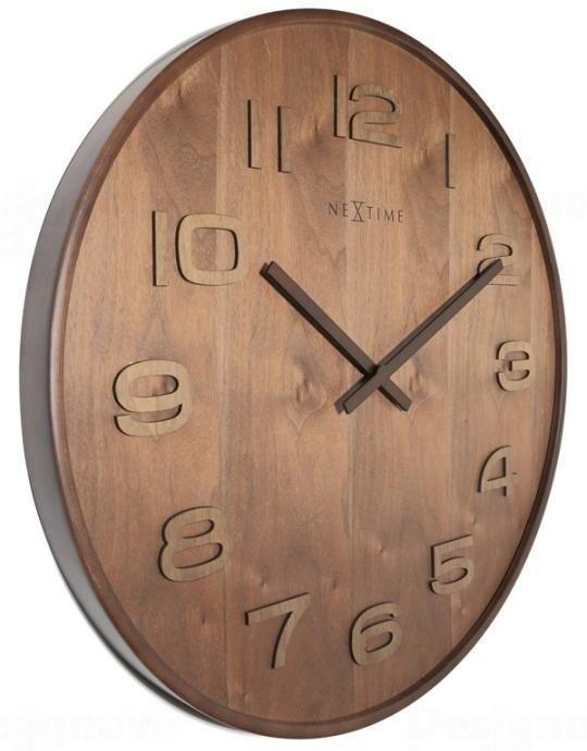 NeXtime Designové nástěnné hodiny 3096br Nextime Wood Wood Medium 35cm 164280