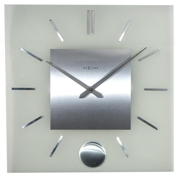 Hodiny na zeď Designové nástěnné hodiny 3146 Nextime Stripe Pendulum Square 40cm 164316 Designové hodiny