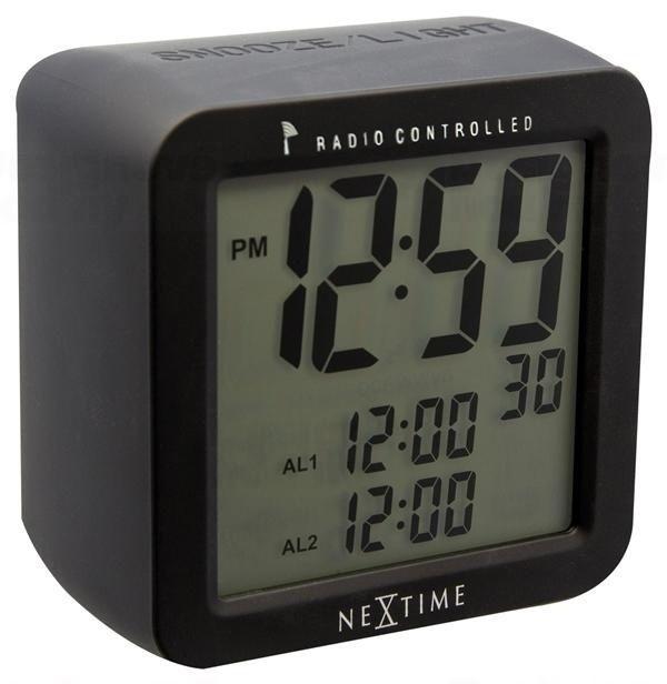 NeXtime Designové stolní digitální hodiny řízené signálem DCF 5201zw Nextime Square Alarm 10cm 164331