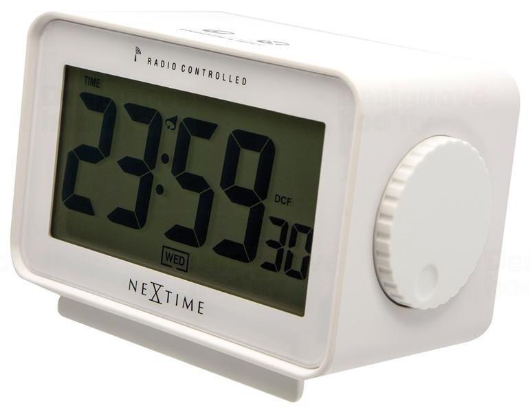 NeXtime Designové stolní digitální hodiny řízené signálem DCF 5202wi Nextime Easy Alarm 13cm 164332