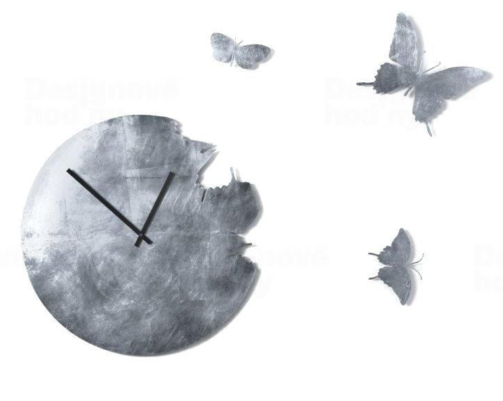 Luxusní nástěnné hodiny Diamantini&Domeniconi 1720SL Butterfly Silver Leaf 48cm 164656