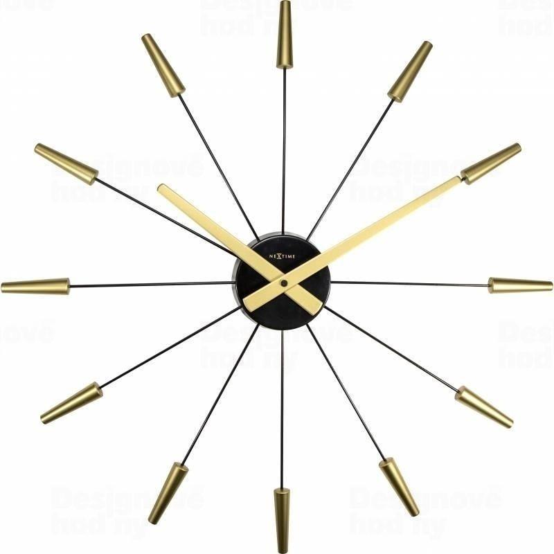 NeXtime Designové nástěnné hodiny 2610go Nextime Plug Inn gold 60cm 164731