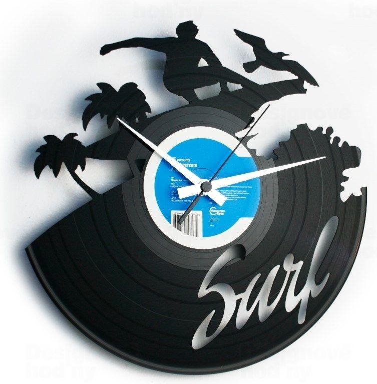 Hodiny na zeď Designové nástěnné hodiny Discoclock 095 Surfař 30cm 165392 Designové hodiny
