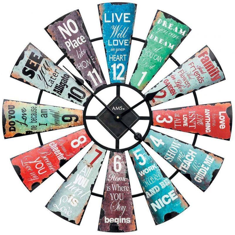 Designové nástěnné hodiny retro styl AMS 9531 165124