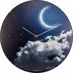 Designové nástěnné luminiscenční hodiny Nextime 3177 New Moon 35cm 165377