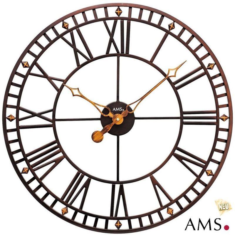 Velké kovové kulaté hodiny patina ams 9537 skladem Hodiny