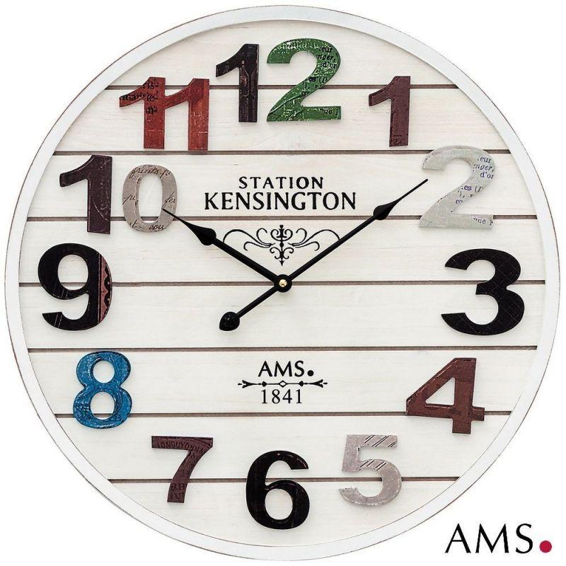 Dřevěné designové nástěnné hodiny velké kulaté hodiny bílá antik AMS Hodinářství