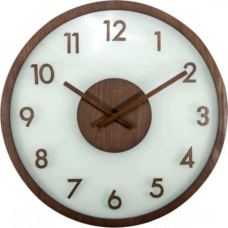 NeXtime Designové nástěnné hodiny 3205br Nextime Frosted Wood 50cm 165407