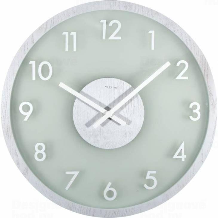 NeXtime Designové nástěnné hodiny 3205wi Nextime Frosted Wood 50cm 165408