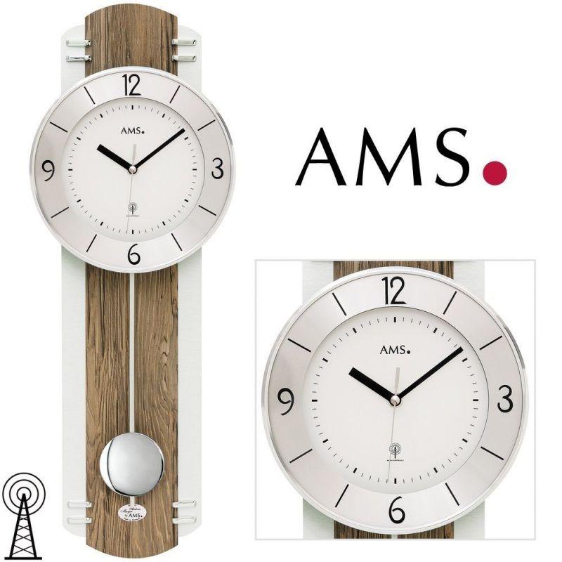 Hodiny na zeď Rádiem řízené kyvadlové hodiny AMS 5292 165504 Designové hodiny