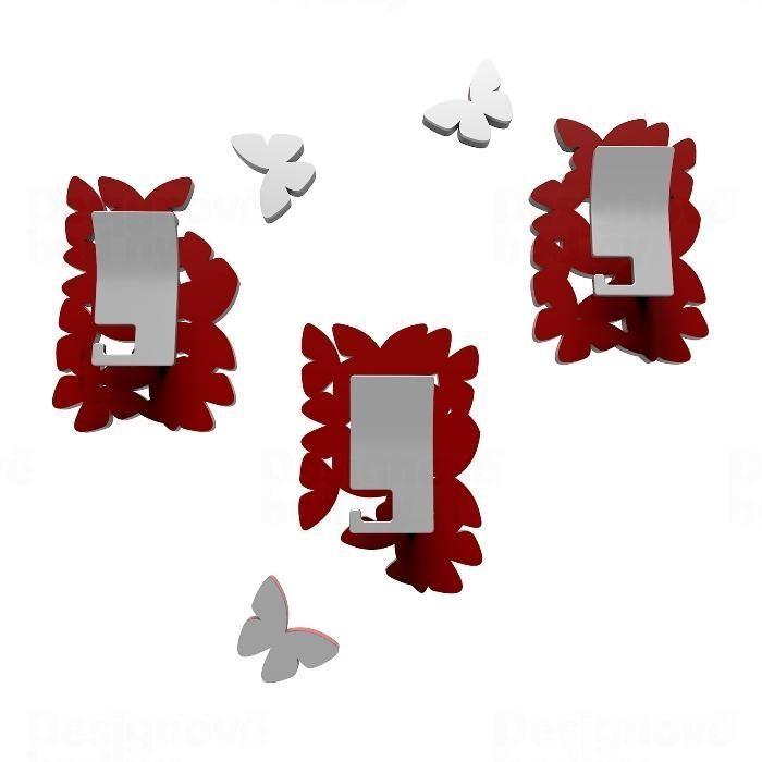 Designové háčky na stěnu 50-13-4 CalleaDesign (více barev) Barva rubínová tmavě červená - 65 165576