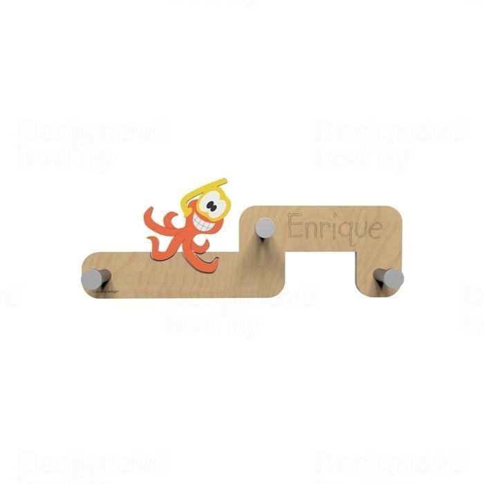 Dětský designový nástěnný věšák CalleaDesign chobotnice 55cm 165694