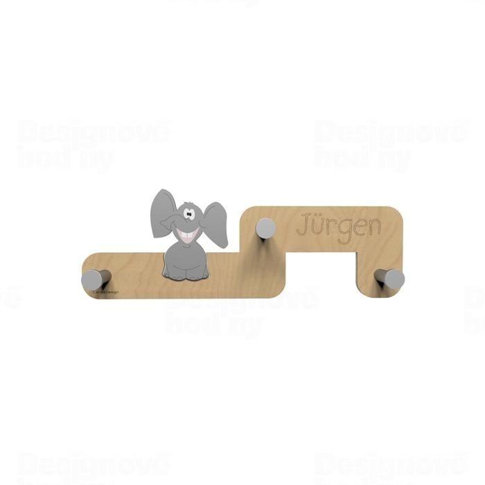 Dětský designový nástěnný věšák CalleaDesign slon 55cm 165687 Hodiny