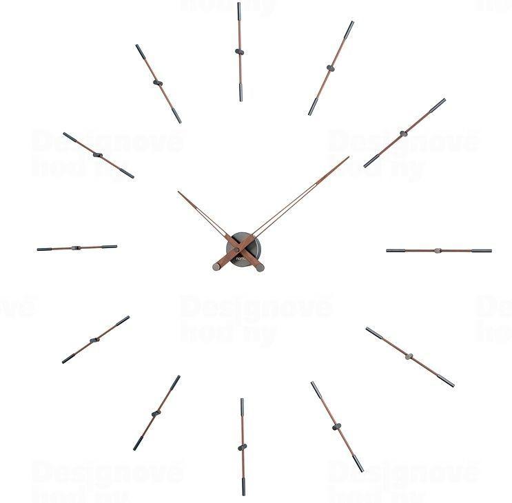 Designové nástěnné hodiny Nomon Merlin Walnut Graphite 125cm 165913 Hodiny