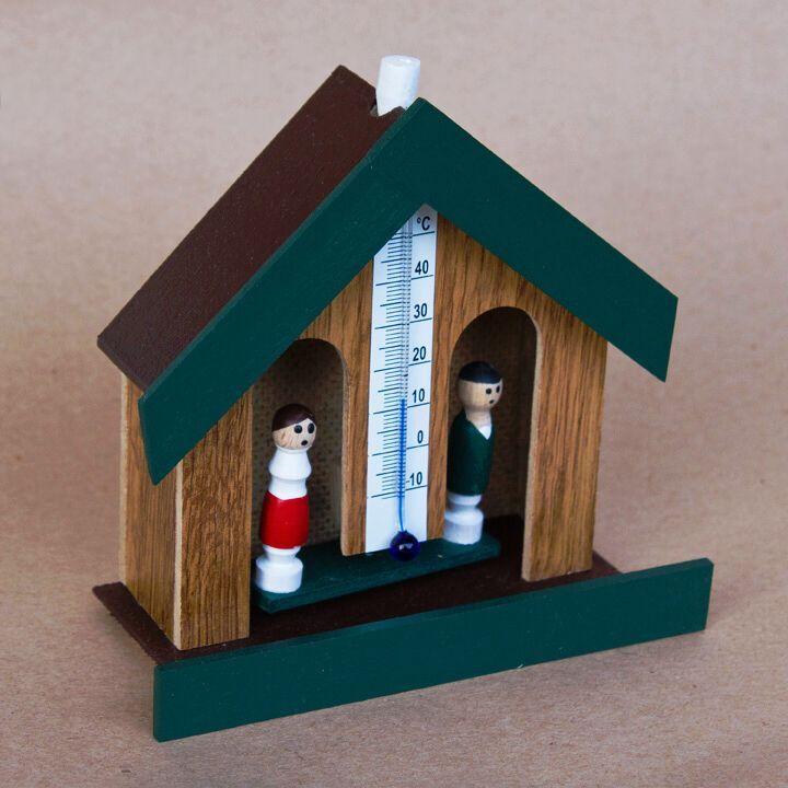 Hodiny na zeď Meteorologický domeček s teploměrem 165783 Designové hodiny