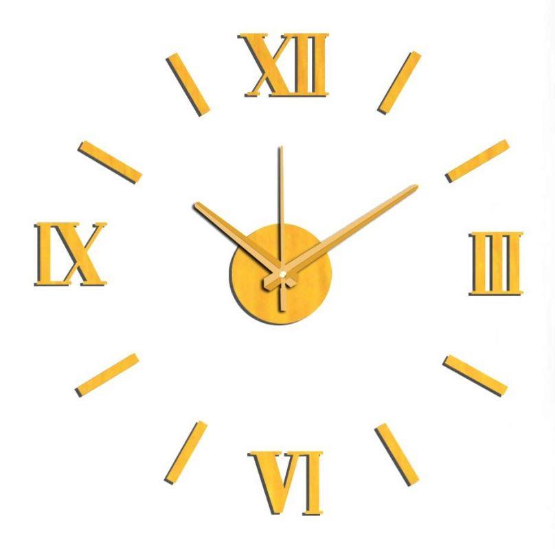 Nástěnné nalepovací hodiny zlatá NOVINKA 165933