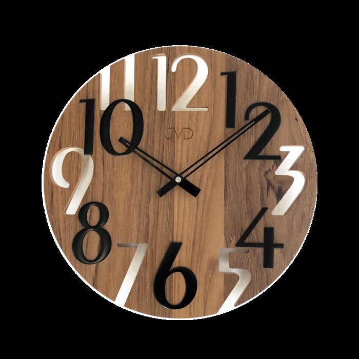 Hodiny na zeď Hodiny JVD dřevo tmavé HT101.5 166749 Designové hodiny