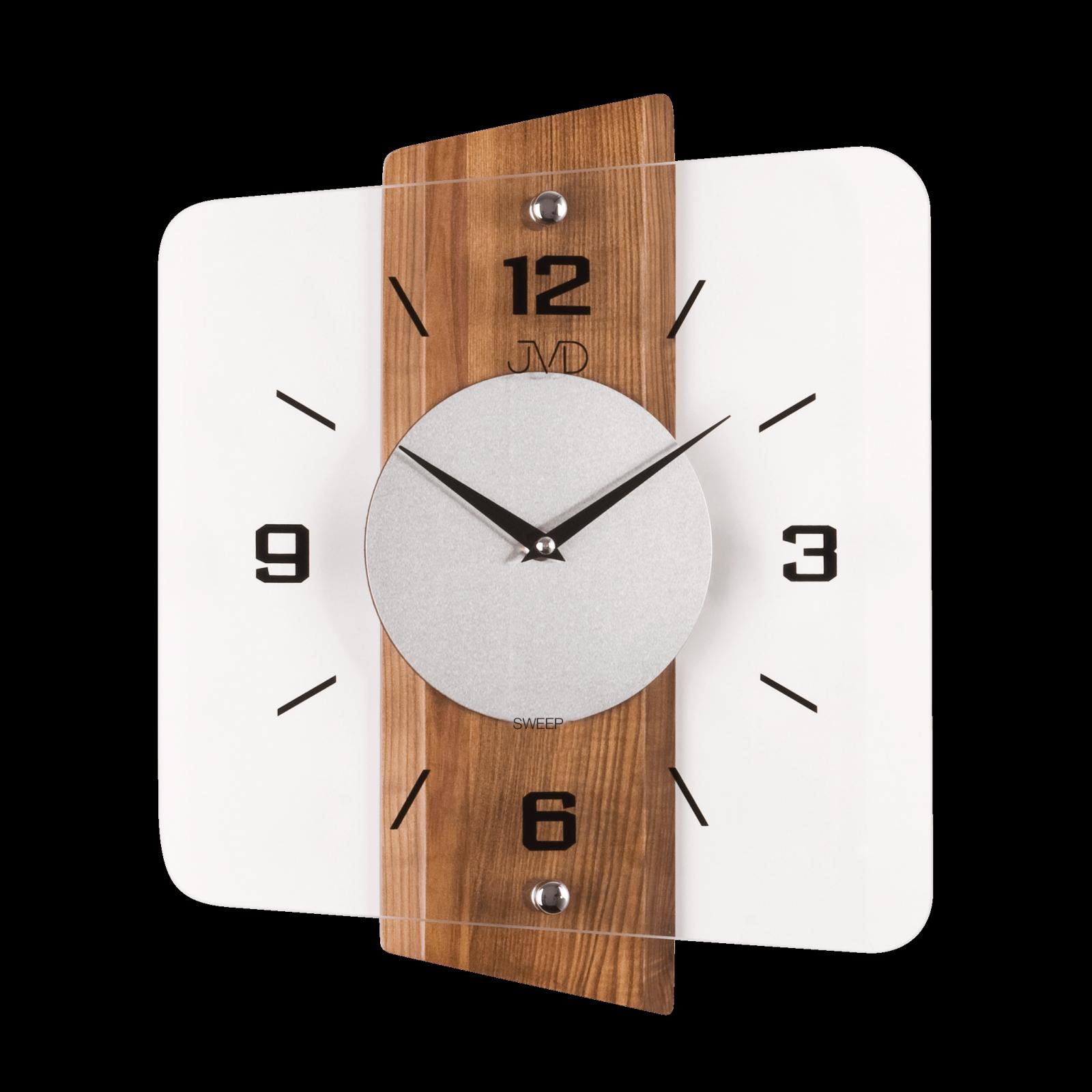 JVD Moderní skleněné a dřevěné nástěnné hodiny na zeď čtvercové designové hodiny N20131.68.1 olše
