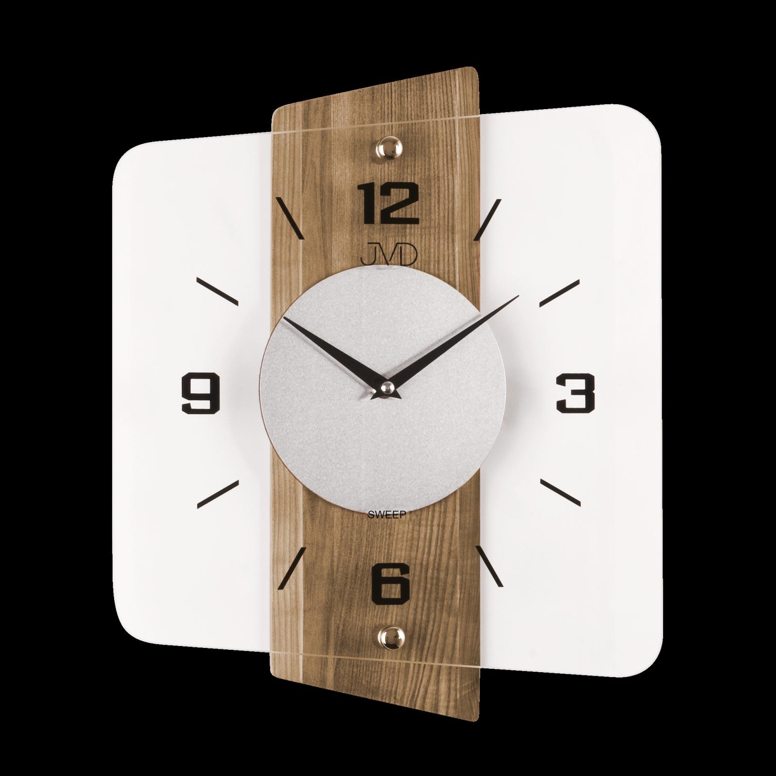 JVD Moderní skleněné a dřevěné nástěnné hodiny na zeď čtvercové designové hodiny n20131.78