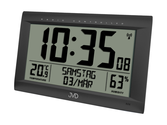 Rádiem řízené digitální hodiny s budíkem JVD černé RB9075.1 166202 Hodiny