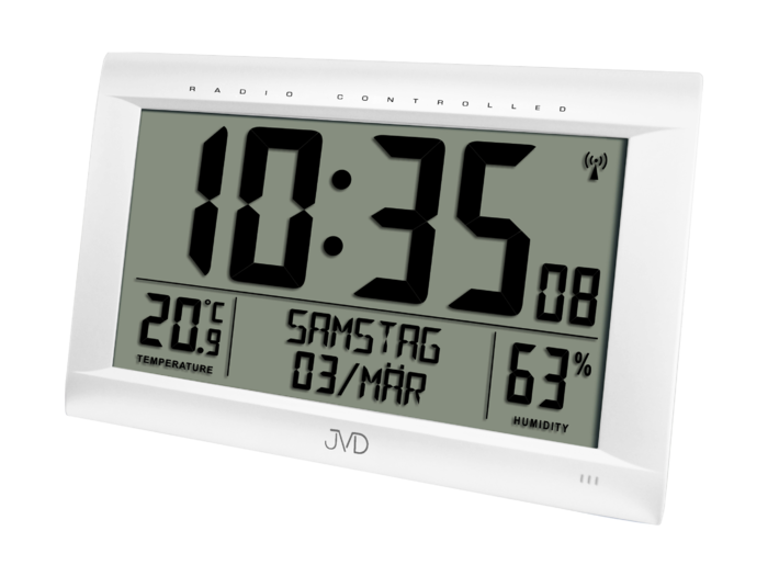 Rádiem řízené digitální hodiny s budíkem JVD stříbrné RB9075.2 166203 Hodiny