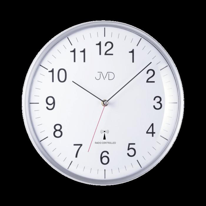 Velké kulaté hodiny rádiem řízený čas stříbrná barva Hodiny