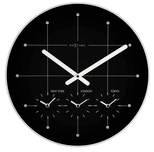 NeXtime Designové nástěnné hodiny 214zw Nextime Big City black 43cm 166944