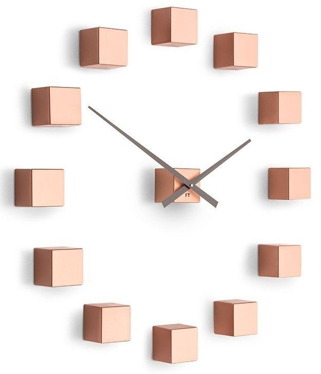 Designové nástěnné nalepovací hodiny Future Time FT3000CO Cubic copper 167211 Hodiny